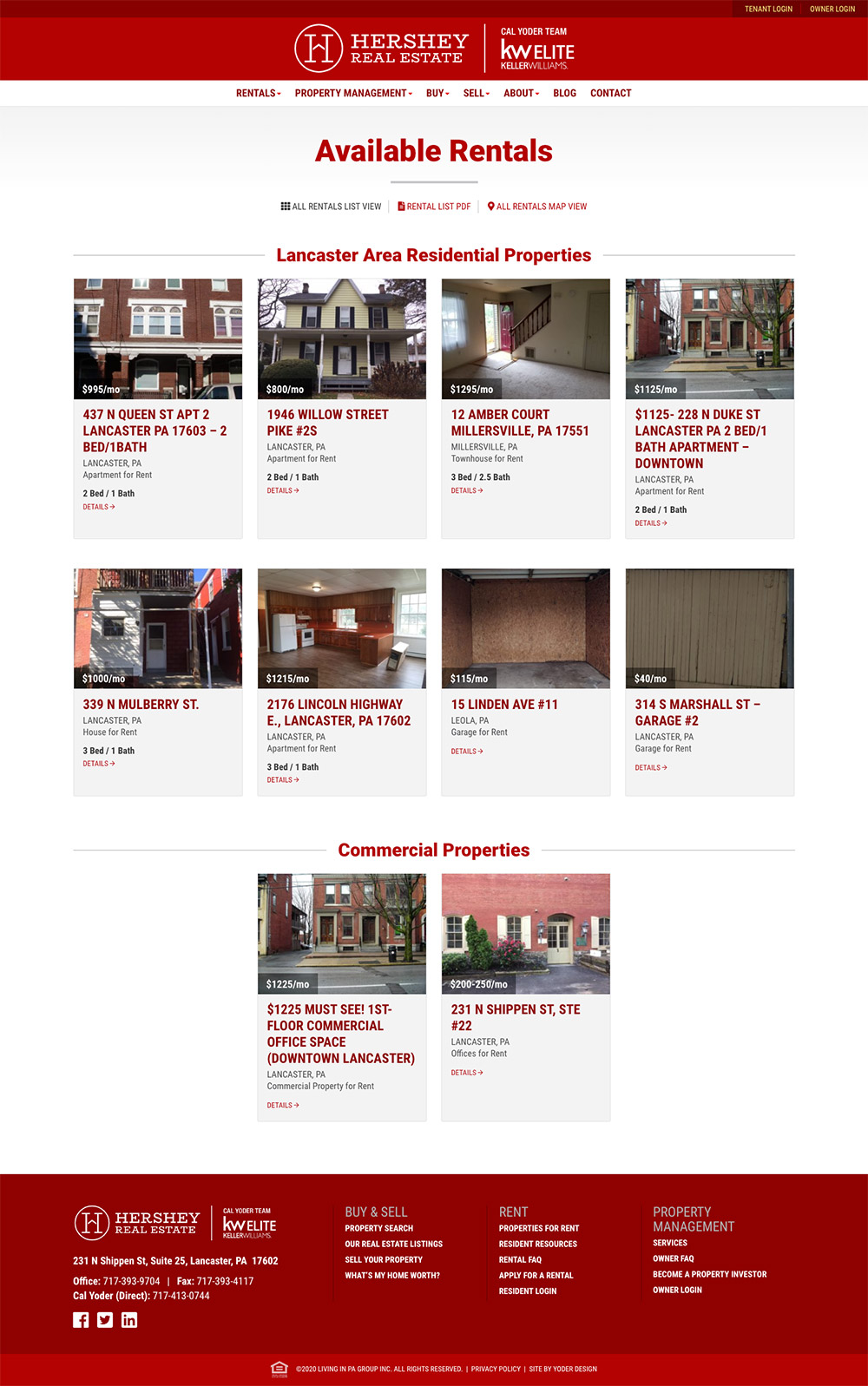 Available rentals page screenshot
